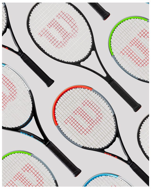 Collection of Performance tennis racquets lying down