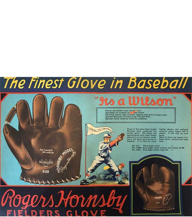 Roger Hornsby ad from the Wilson Spring and Summer 1927 catalog showing his five-finger and four-ginger glove models