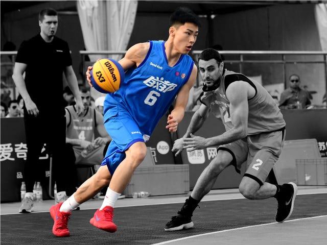FIBA 3x3 Player running past opposition
