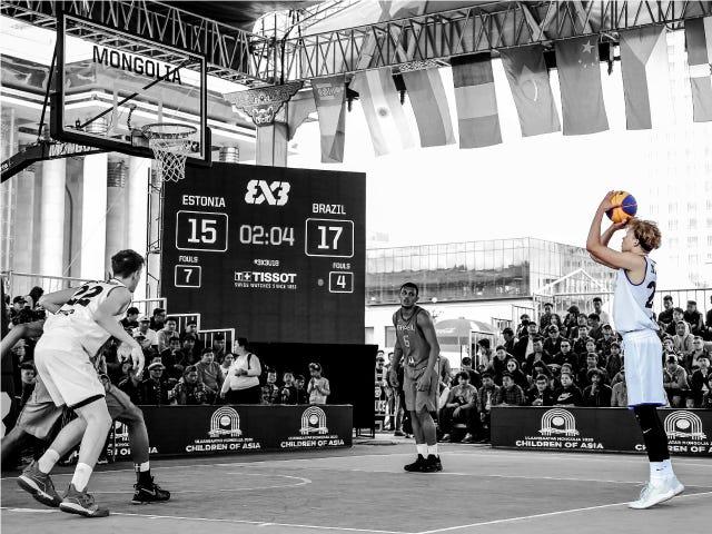 FIBA 3x3 player taking a shot unopposed