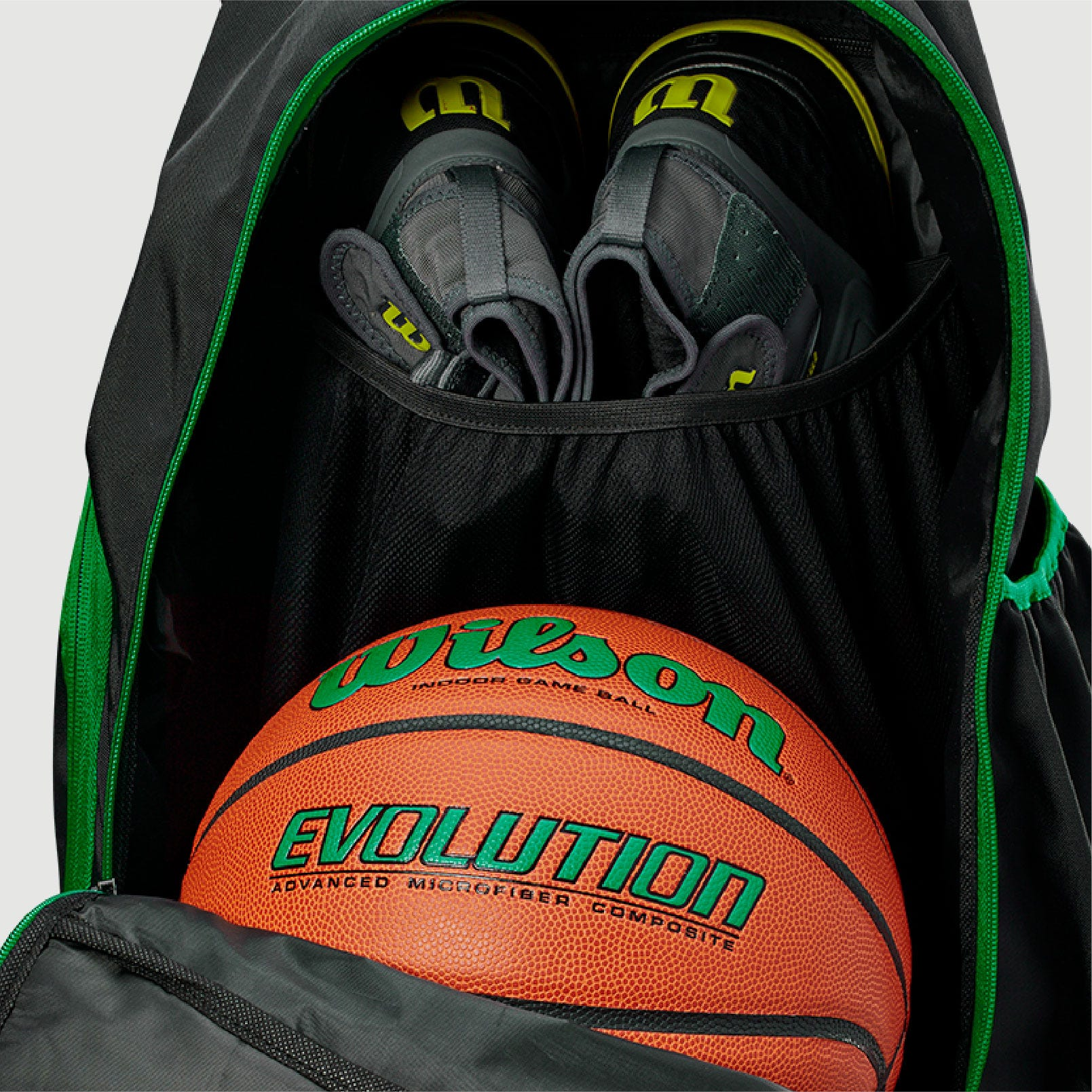 Evolution Backpack Main Compartment Open showing Ball