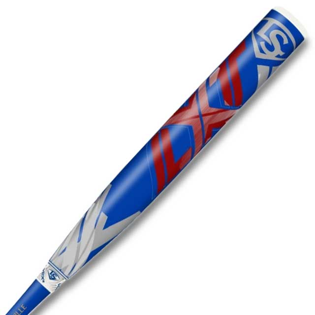 Blue and red softball bat with LXT logo