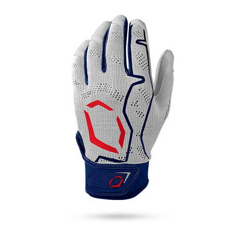 Gray, blue and red batting glove
