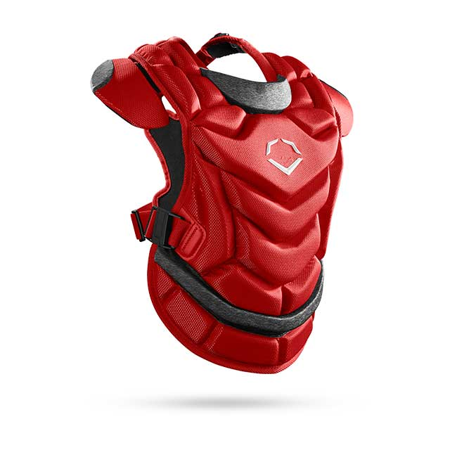 red catcher's protective chest guard