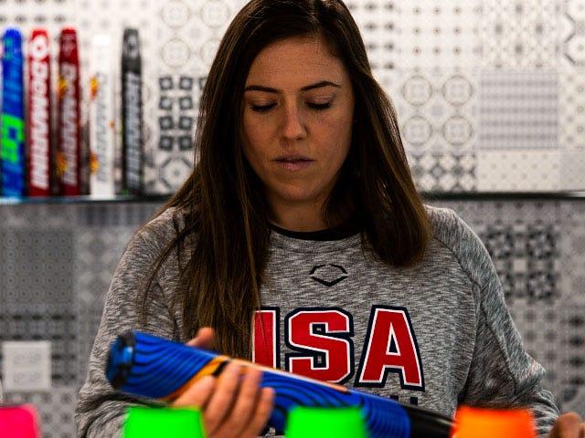 Amanda Chidester holding custom made bat