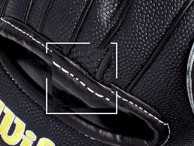 Closeup of binding stitch on glove