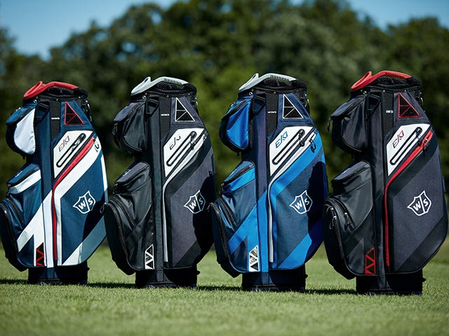 line up of Wilson Staff cart golf bags