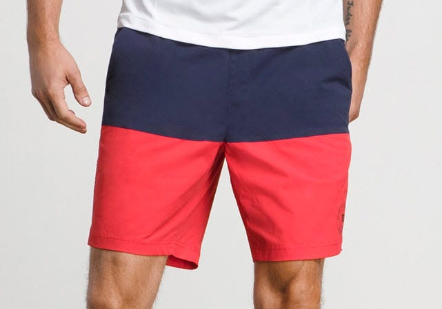 Limitless Hybrid Short in red and navy color block