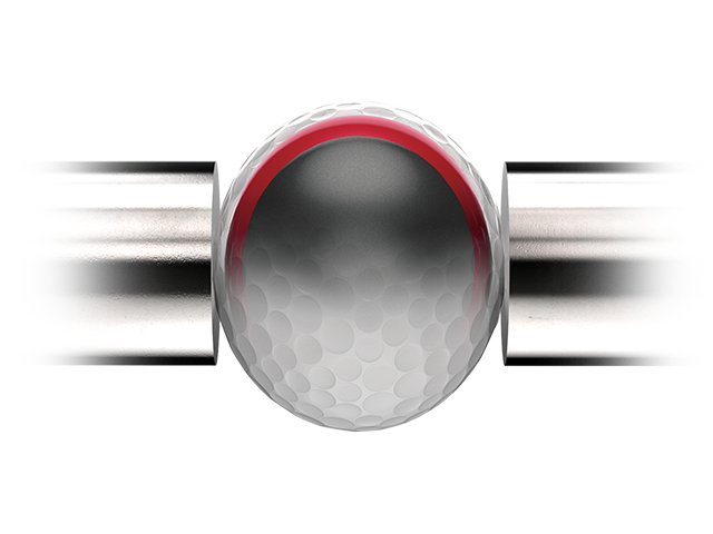 golf ball being compressed