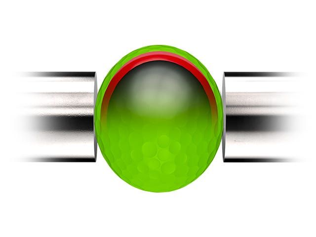 green golf ball being compressed