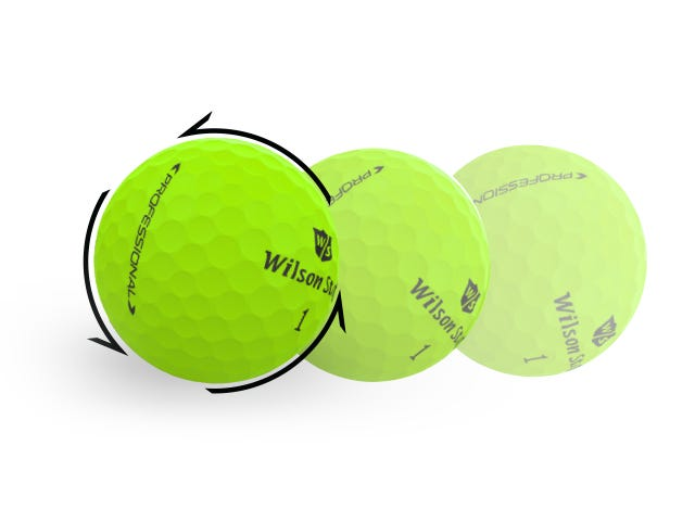 green golf ball showing rotation