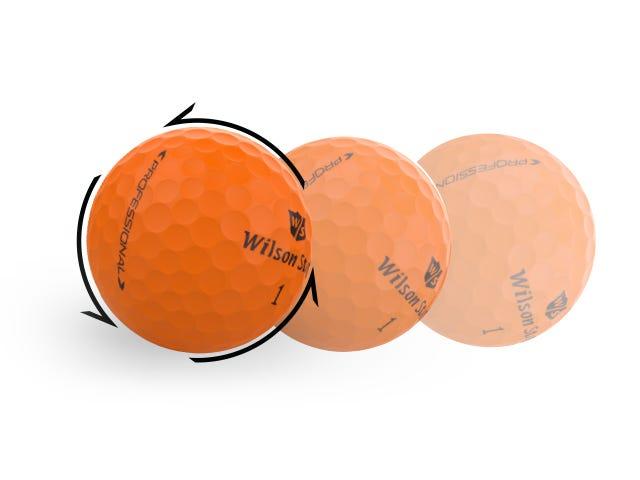 orange golf ball showing rotation
