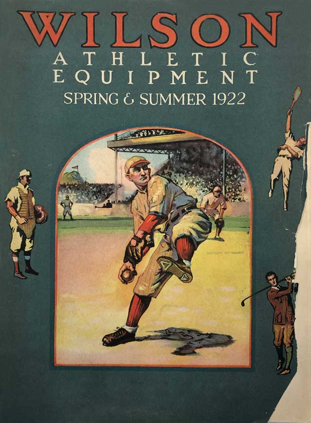 1922 Wilson Sporting Goods Spring and Summer catalog cover showing baseball, golf and tennis player equipment