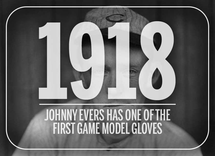 Baseball Hall of Famer, Johnny Evers, with 1918 text to show the year he designed his own glove with Wilson