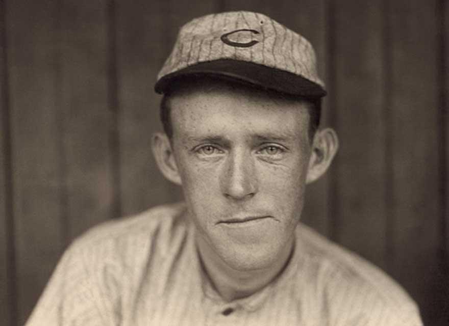 Baseball Hall of Famer, Johnny Evers, wearing a Chicago Cubs baseball hat in 1910.