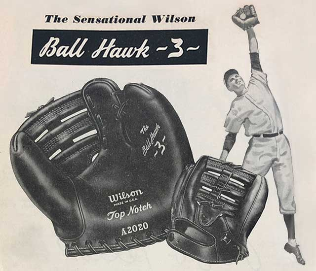 1940's ad with Wilson's three-fingered Ball Hawk glove