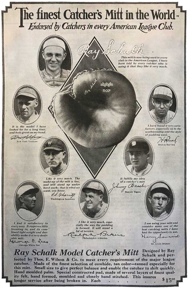 Ray Schalk ad from the Wilson Spring and Summer 1922 catalog showing player endorsement for Wilson Catcher's Mitts