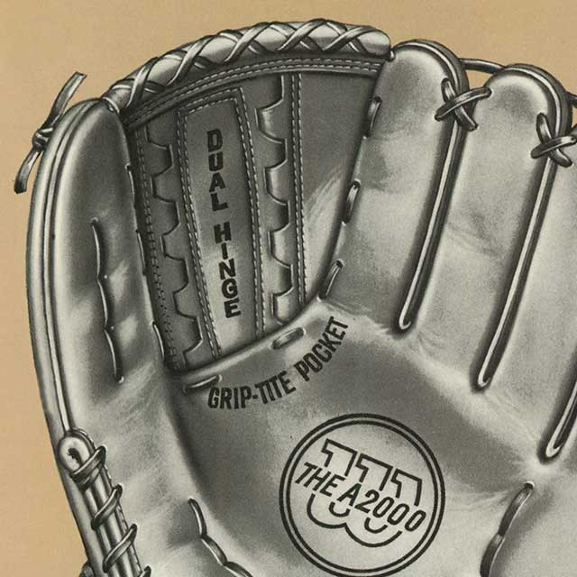 Close up catalog illustration of a Wilson A2000 glove's Grip-Tite Pocket