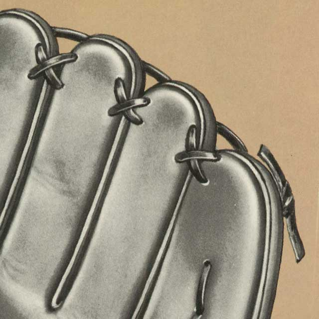 Close up catalog illustration of a Wilson A2000 glove's Triple-X finger tip lacing