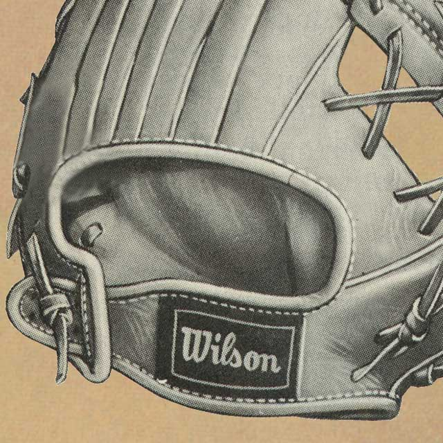 Close up catalog illustration of a Wilson A2000 glove's adjustable Hold-Tite wrist strap