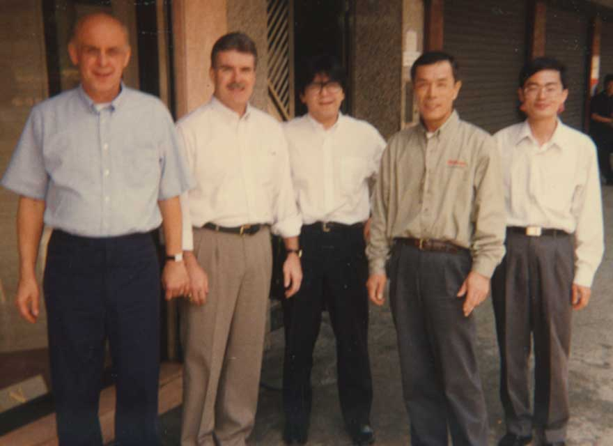 Group photo from the mid 1970's showing Glove Guru, Shigeaki Aso, with other Wilson employees