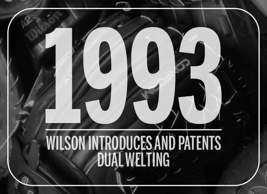 Text over Wilson glove describing how Wilson introduced and patented Dual Welting in 1993