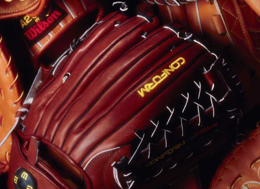 1993 version of a Wilson A2000 glove with Dual Welting, two leather strips along each back finger