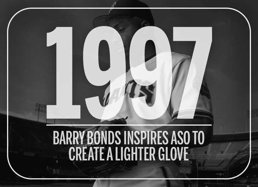 Text over image of Barry Bonds with his Wilson glove describing how he inspired a lighter glove in 1997