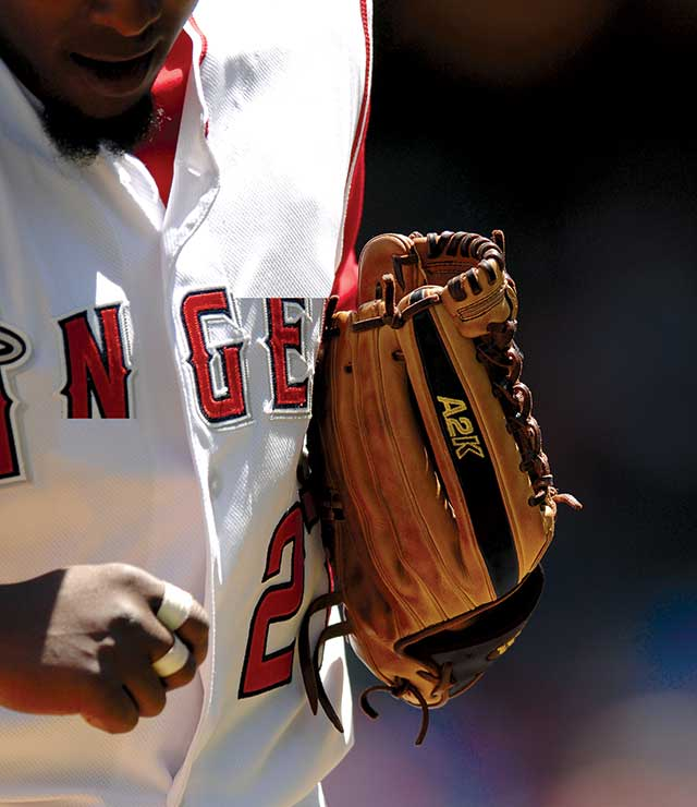 Los Angeles Angels player holding his Wilson A2K baseball glove