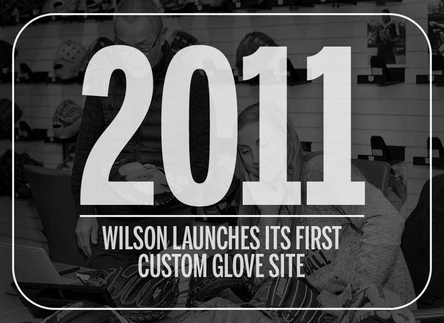 Text over image of Aubree Munro and Shigeaki Aso describing how Wilson launched its custom glove site in 2011