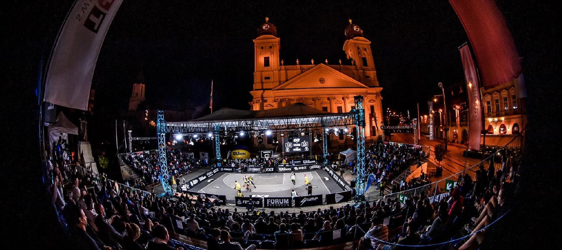 The FIBA 3x3 court lit up at night