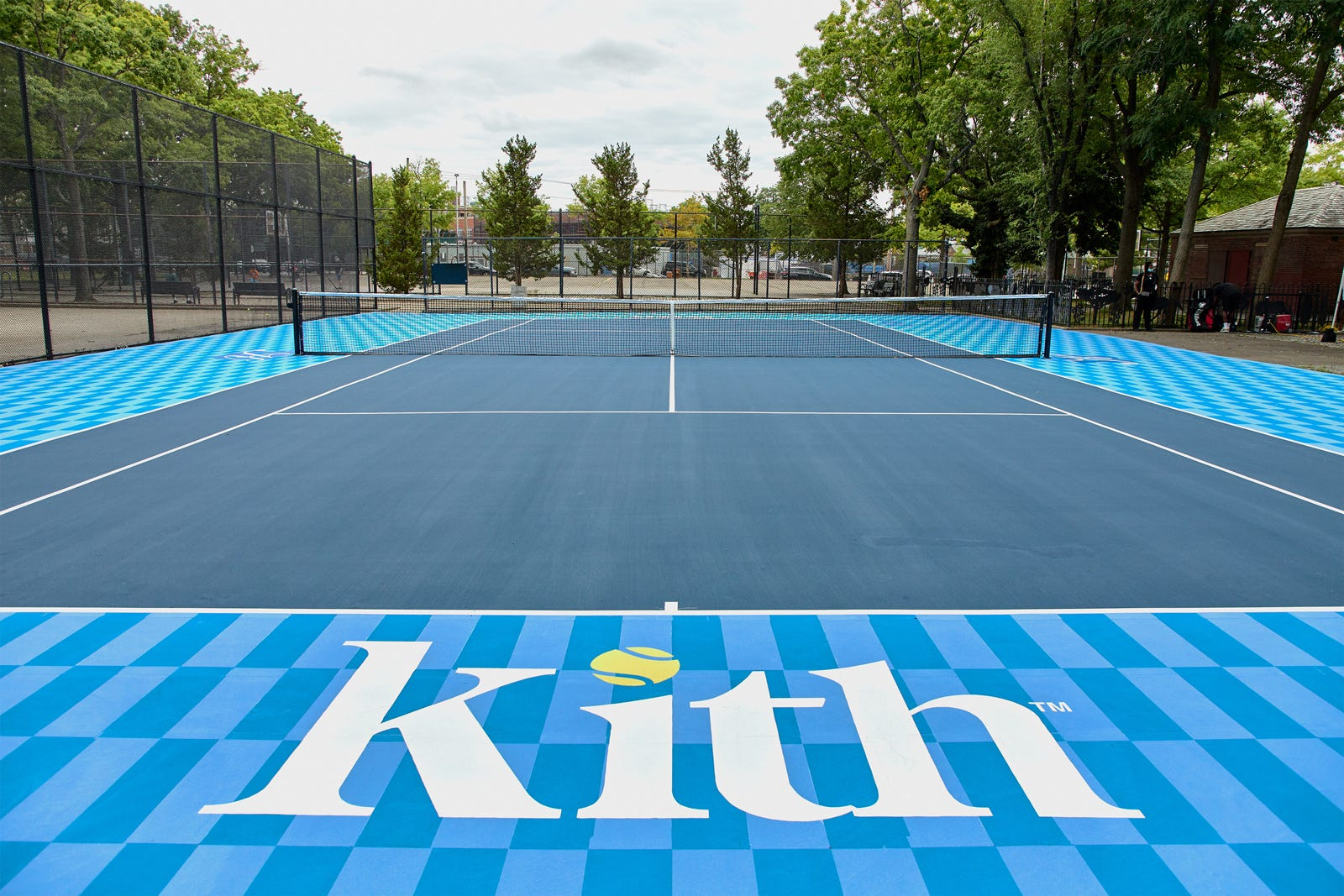 the design of the court with kith logo
