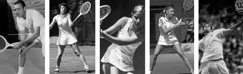 Five famous tennis players in black and white