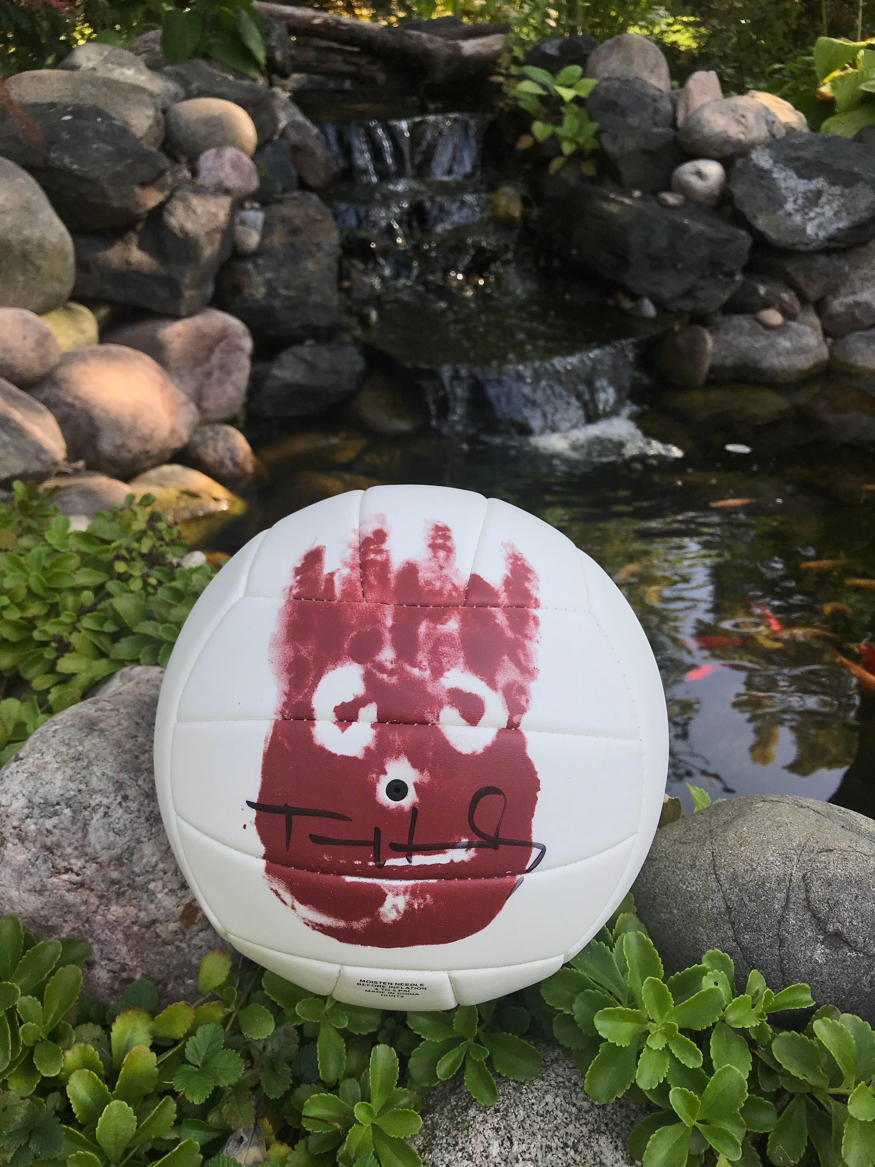A Wilson volleyball autographed by Tom Hanks