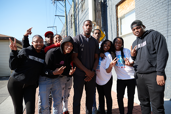 Jamal with a group of youths in Chicago