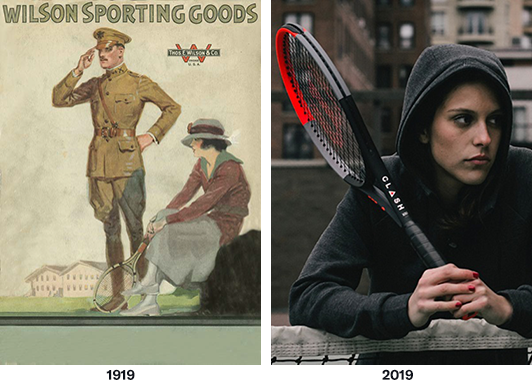 Illustration from World War I with a woman sitting with tennis racket