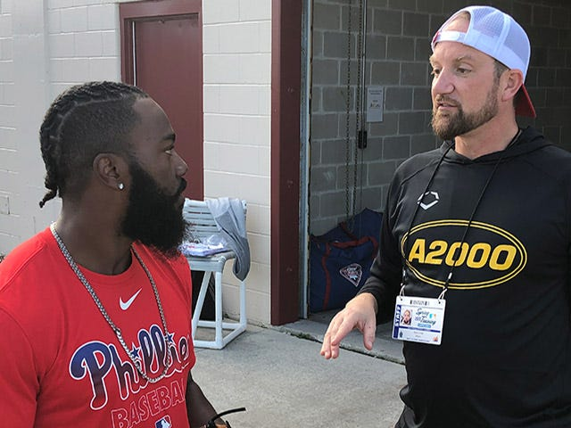 Ryan talking with Phillies player