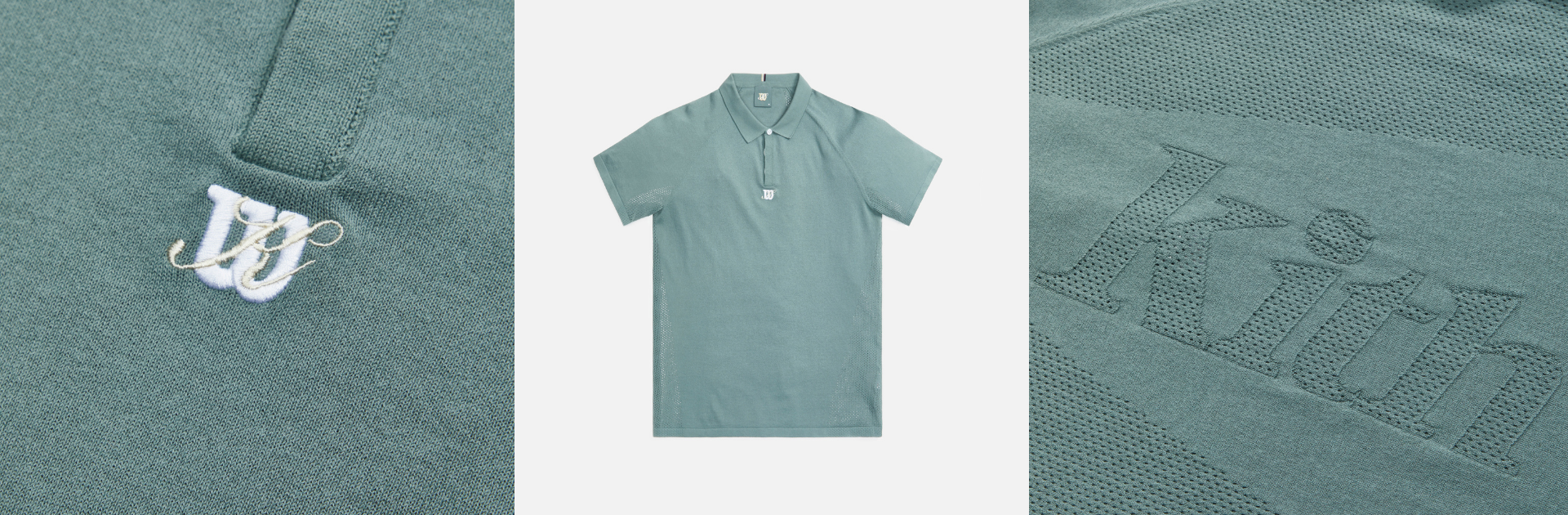 kith x wilson green polo with detail shots