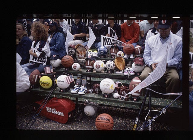 Wilson's friends (other sports equipment) in the bleachers to support him