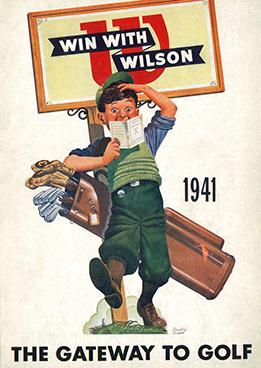1941 Wilson golf ad showing a caddy and a scorecard