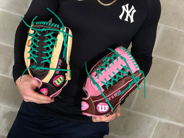 Two Yankees gloves