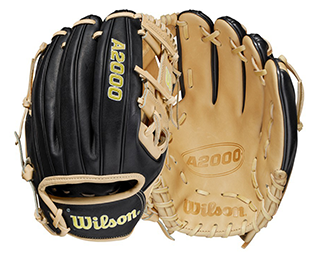 closeup of the front and back of an A2000 baseball glove