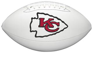 White football with Kansas City Chiefs logo