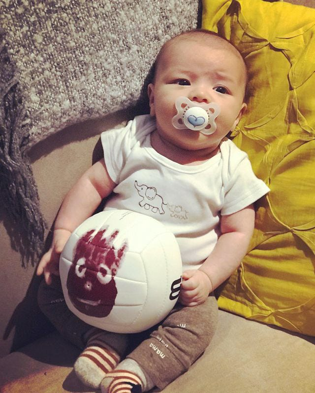Baby Wilson with his castaway Wilson volleyball