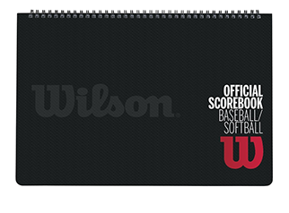 black spiral bound scorebook with Wilson logo on the cover