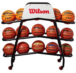 front of a cart with fifteen basketballs on it
