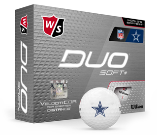 Box of golf balls with one showing the Dallas Cowboys logo