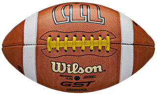 closeup details of footballs laced in different colors