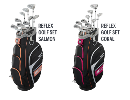 two women's golf club sets in two colors