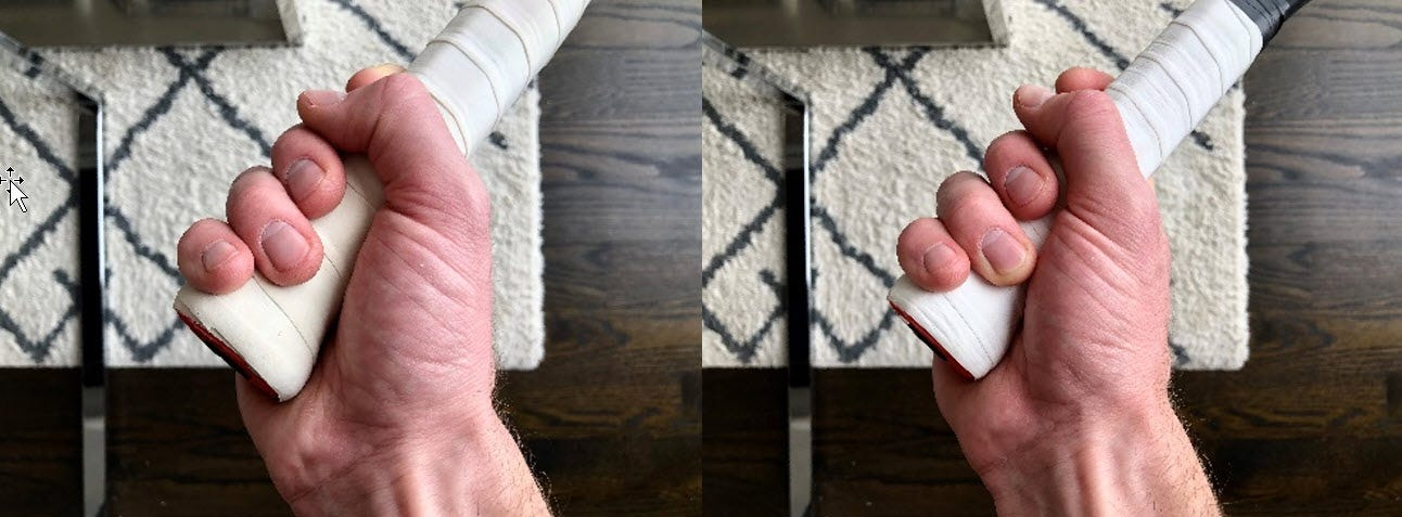 side-by-side photos of a hand gripping a racket both with and without space between the fingertips and palm